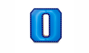 Aplique número 0 azul