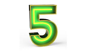 Aplique número 5 verde