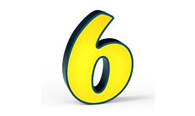 Aplique número 6 amarillo
