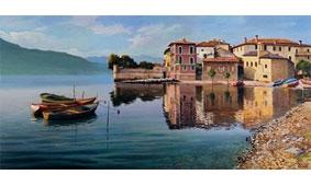 Cuadro canvas paese sul lago - Cuadros serigrafiados - Objetos de Decoración