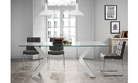 Mesa Wesport cristal transparente en tope - Mesas de Comedor de Diseño - Muebles de Diseño