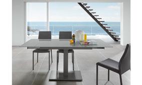Mesa Nelso cristal gris en tope - Mesas de Comedor de Diseño - Muebles de Diseño
