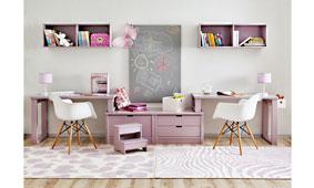 Escritorios gemelos en composición simétrica - Mesas Escritorio Infantiles y Juveniles - Muebles Infantiles