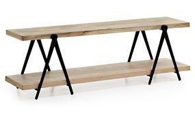 Mueble de tv industrial Erutna negro y madera