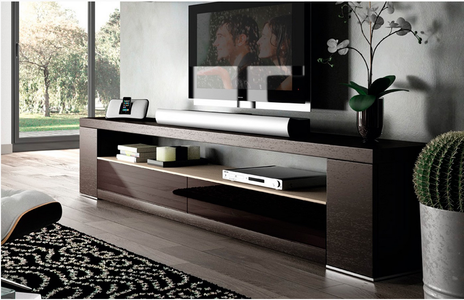 Mueble tv exclusive cristal en for Mueble tv moderno