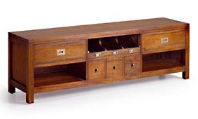 Mueble tv 5 cajones Colonial Flamingo - Muebles de Tv Coloniales y Rústicos - Muebles Coloniales y Muebles Rústicos