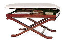 Banqueta clásica cajón tapizada blanca Lásica