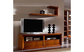 Mueble Tv madera con ruedas clásico Lamu