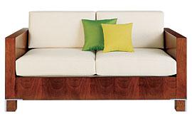 Sofá 2 plazas moderno tapizado blanco Drake