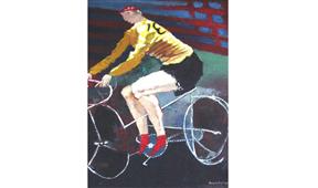 Pintura de Ramón Lapayese Ciclista