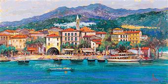 Cuadro canvas paisaje paese sul lago