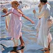 Cuadro canvas museo sorolla la hora del baño