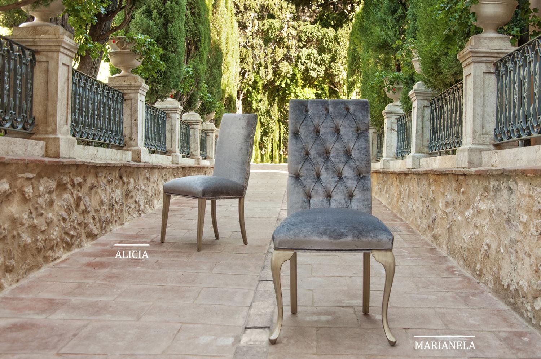 Sillas vintage tapizadas alicia en for Muebles la silla