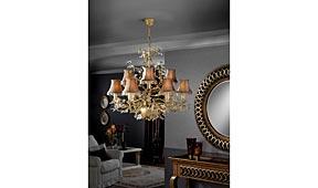 Lámpara de techo Verdi marfil y oro