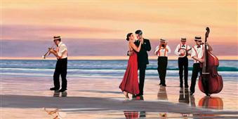 Cuadro canvas figurativo romance on the beach