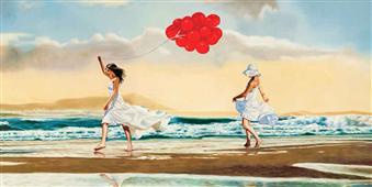 Cuadro canvas figurativo collecting waves