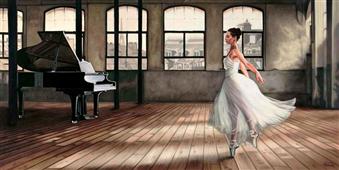 Cuadro canvas posado dim light ballerina