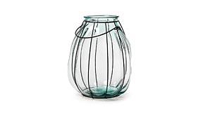 Velón de vidrio reciclado con hierro