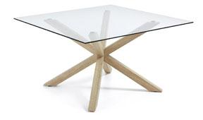 Mesa de comedor cuadrada madera y cristal moderna Arya - Mesas de Comedor de Diseño - Muebles de Diseño