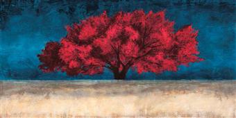 Cuadro canvas paisaje red tree