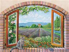 Cuadro canvas paisaje finestra in provenza