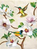 Cuadro canvas flores magnolia and birds