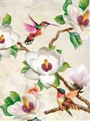 Cuadro canvas flores magnolia and hummig birds