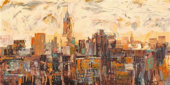 Cuadro canvas paisaje mattino a new york