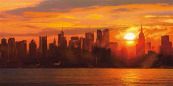 Cuadro canvas paisaje sunset over manhattan