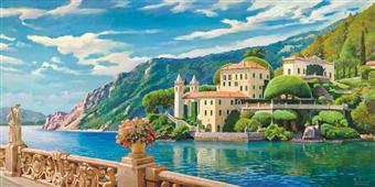 Cuadro canvas paisaje villa sul lago