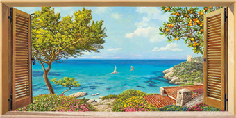 Cuadro canvas paisaje finestra sul mare