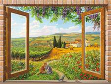 Cuadro canvas paisaje finestra sulla campagna