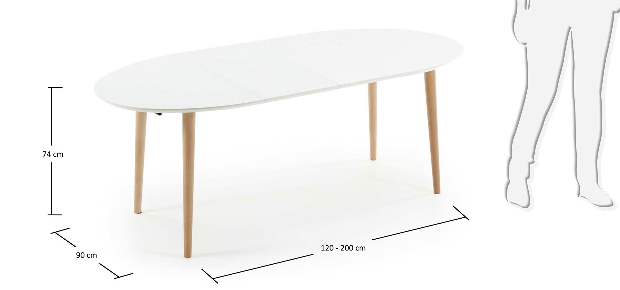 Mesa de comedor ovalada extensible nórdica Oqui