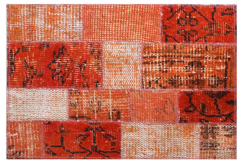 Alfombra de patchwork kilim naranja no disponible en - Alfombra patchwork ...