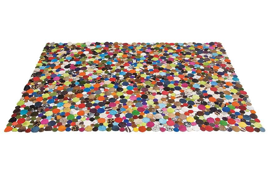 Alfombra Rectangular De Piel Multicolor Alejandra En