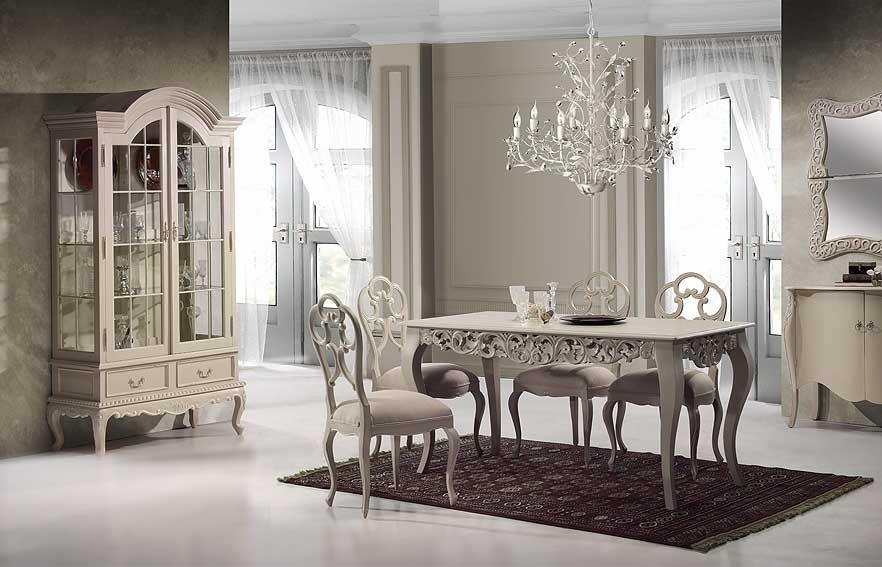 Comedor la rochelle emilie de lujo en for Muebles romanticos blancos