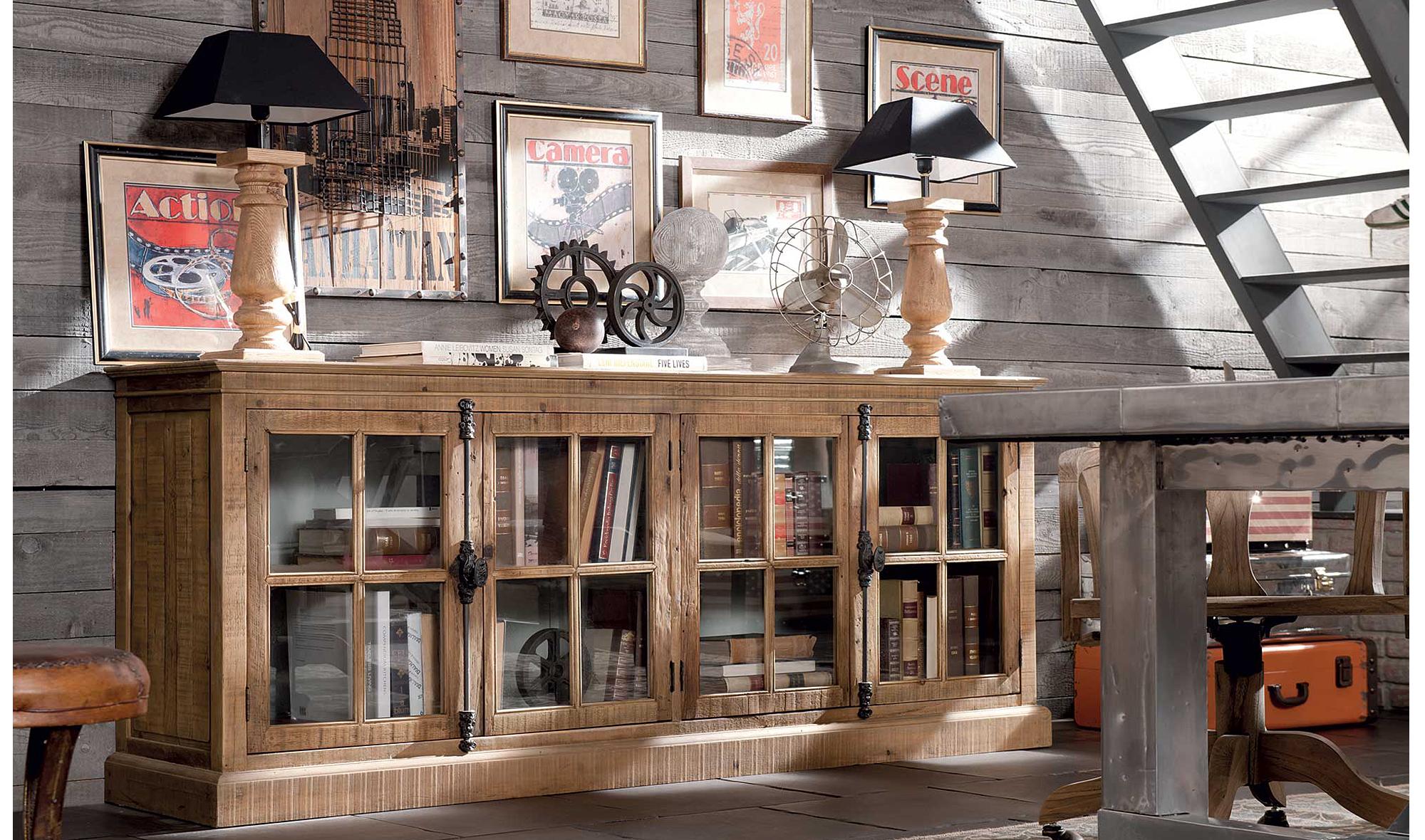 Aparador 4 puertas cristal pino antiguo en for Muebles japoneses antiguos