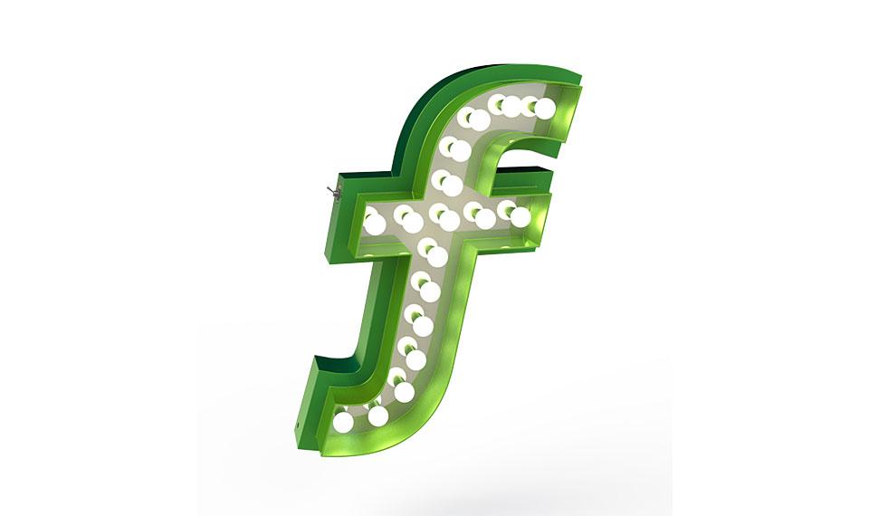Muebles Martin Peñasco:  Aplique letra F color verde  - Apliques y Plafones - Objetos de Decoración