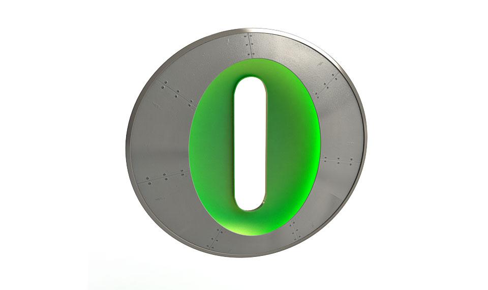 O Bisonte Debandada Letra -Aplique letra O verde...