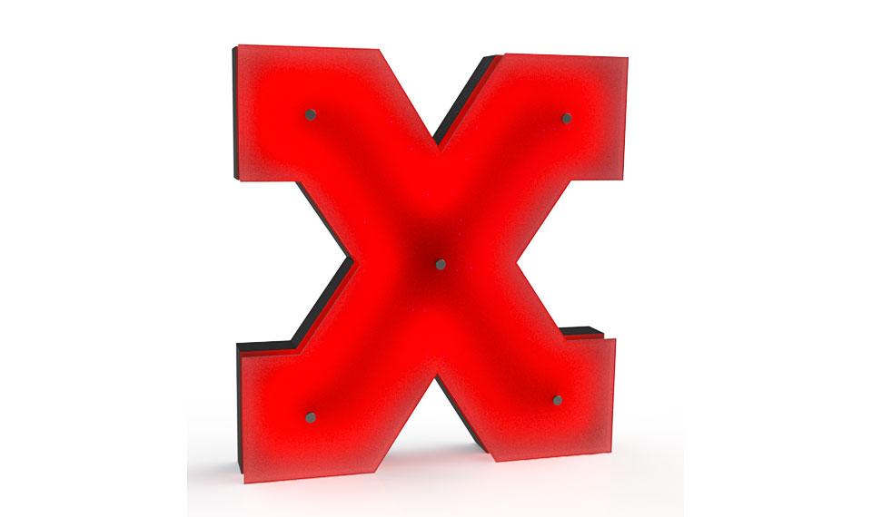 Aplique letra X rojo