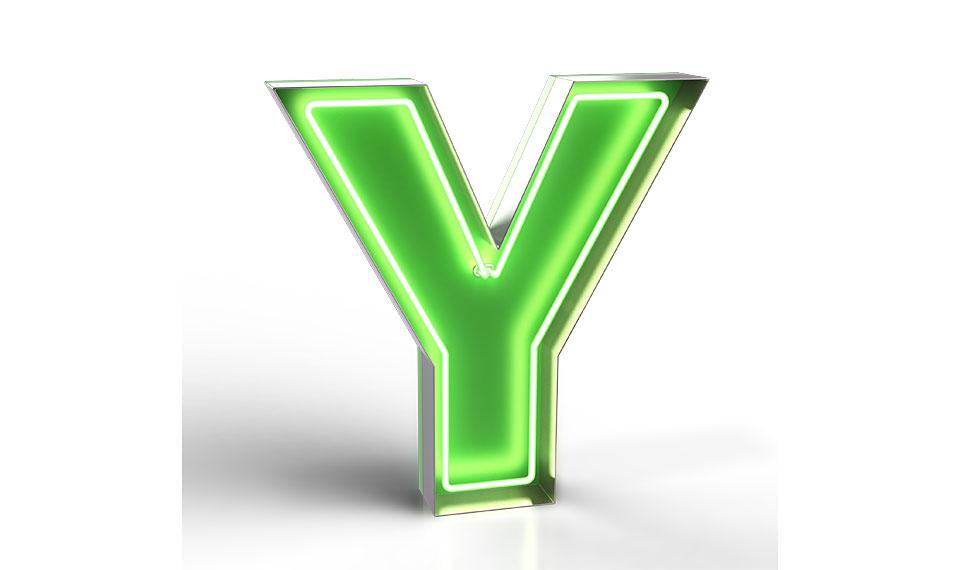 Aplique letra Y verde