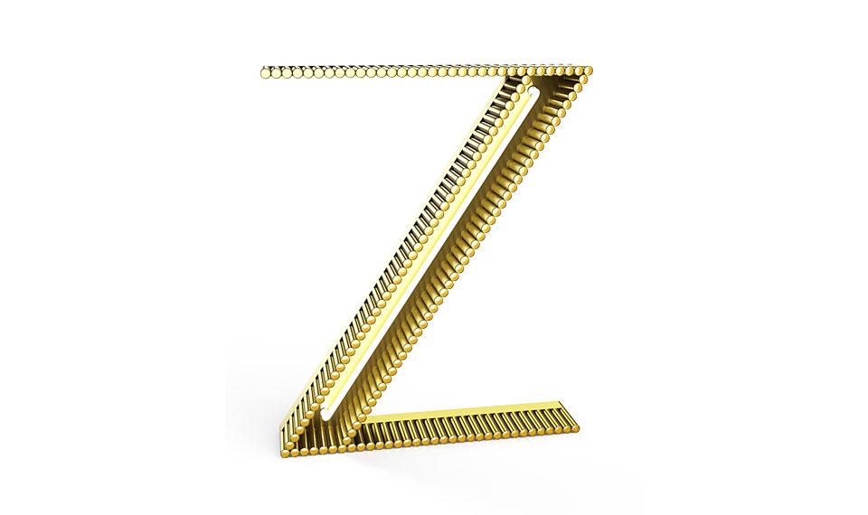Aplique letra Z amarillo