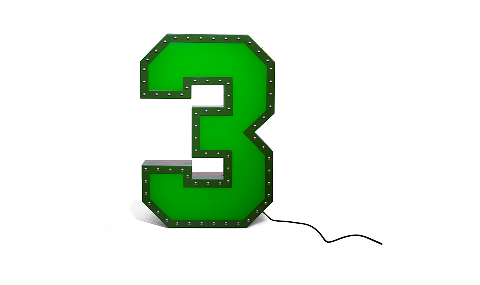 Aplique número 3 verde