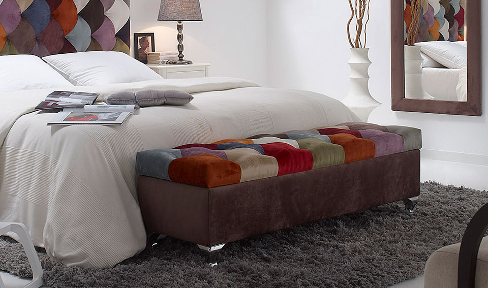 Banco pie de cama patchwork rombos no disponible en for Bancos pie de cama baratos