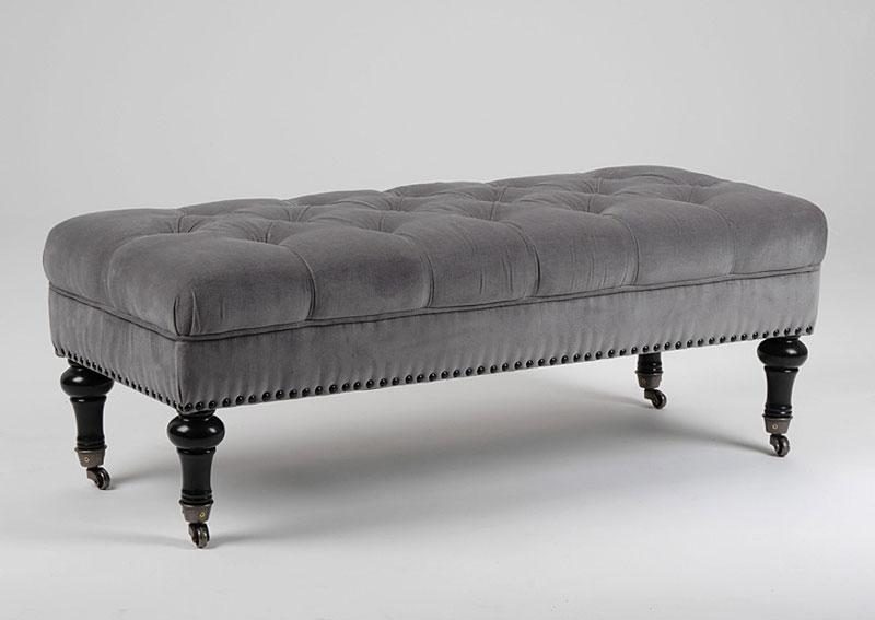 banqueta pie de cama acolchado gris no disponible en. Black Bedroom Furniture Sets. Home Design Ideas