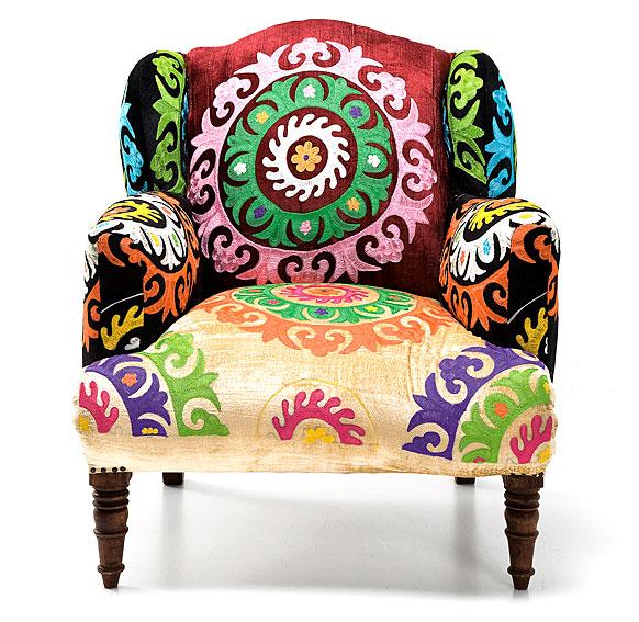 Butaca vintage patchwork mandala en for Sillas tapizadas estampadas