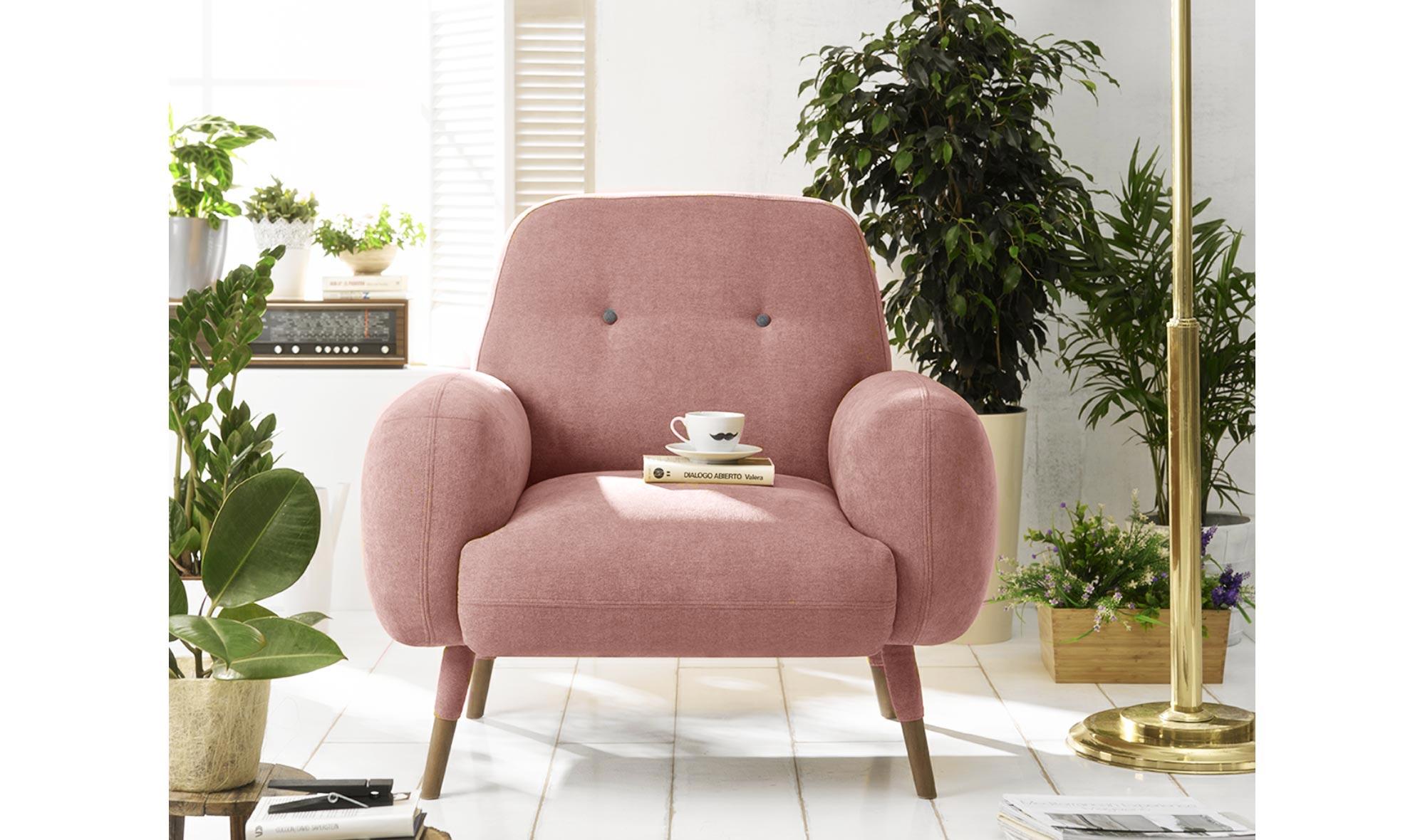 Butaca moderna Kinsey rosa cuarzo de lujo en Portobellodeluxe.com ...