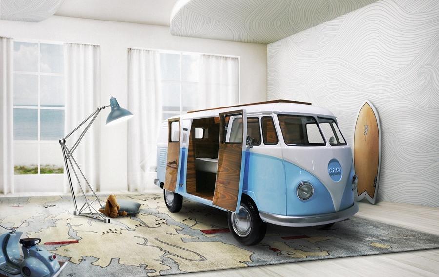 Cama bun van vw camper en for Muebles furgoneta camper