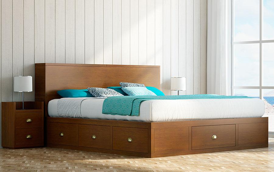 Cama de madera con cajones chianti en for Mueble cama con cajones