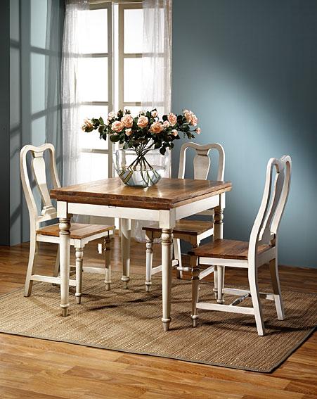 Mesa de comedor montpellier vintage en blanco patinado en for Muebles rusticos blancos